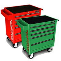 Tủ 7 ngăn có bánh xe di động bao gồm 283 món, màu đỏ.